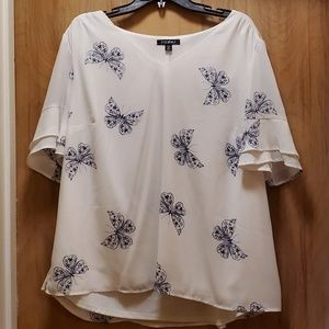 White butterfly blouse